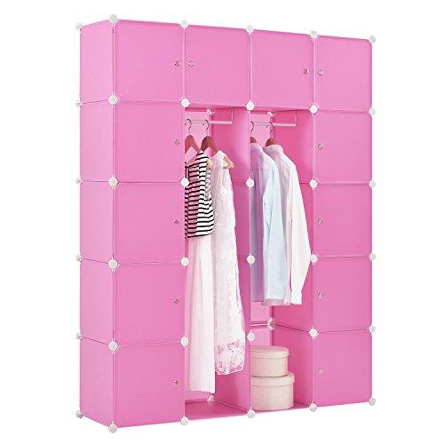 DIY Regalsystem Garderobenschrank Kleiderschrank aus 20 variablen Boxen in pink