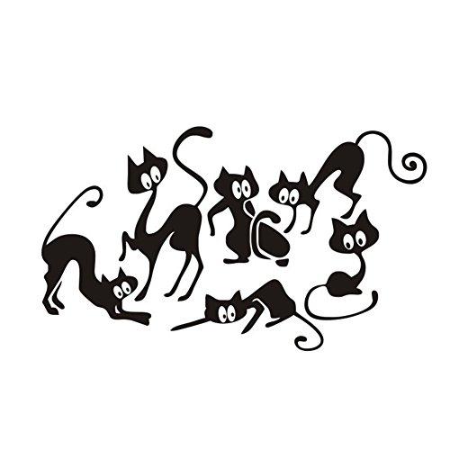 Cdet 1x Halloween-Serie Wandaufkleber 6 Katzen Muster Aufkleber Dekoratives Notizbuch/Mauer/Keramikfliese/Glas/Küche/Geschenk/Auto/Galerie DIY Abnehmbar Fensterbilder Fensterfolien 25 * 42cm