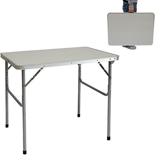 AMANKA Table de camping pique-nique foire aux puces 80x60x70cm en acier 3Kg pliant format mallette Gris Clair