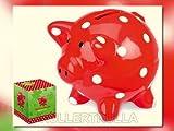 Spiegelburg 50026 - Sparschwein rot mit fröhlichen Tupfen