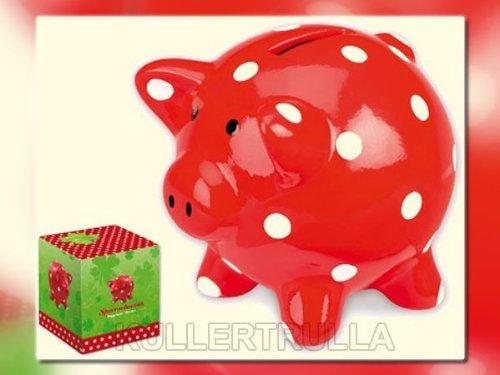 (Spiegelburg 50026 - Sparschwein rot mit fröhlichen Tupfen)