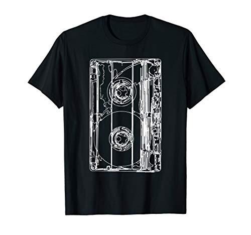 Retro Vintage Kassette Zeichnung Musik Multimedia T-Shirt
