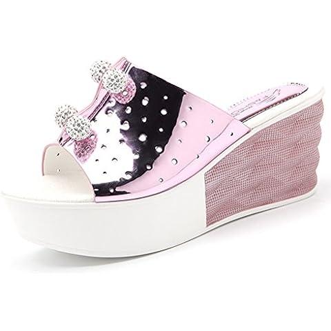 Suela gruesa verano de las señoras de la cuña moderna con diamantes de imitación zapatos de plataforma Anpassened cualquier lugar slip-on sandalias