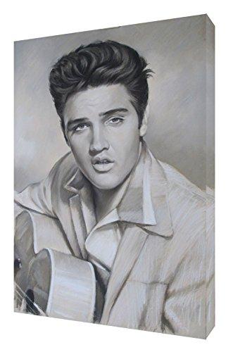 Elvis Presley, mit weichen Pastellfarben mit Druck gerahmt Leinwand Kunstdruck, 30 x 24 inch-38mm depth -