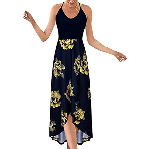 Fenverk Langarm Sommerkleid Casual Kleid A Linie Minikleid Elegant Kleider Knielang Strandkleider Lose Shirtkleid(Marine-a,XXL)