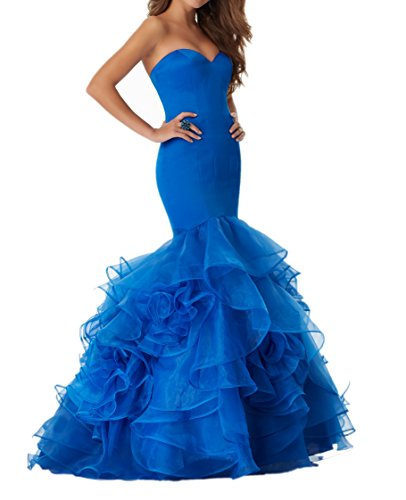 La_mia Braut 2018 Traegerlos Meerjungfrau Abendkleider Promkleider Ballkleider Mit Rueschen Lang-48 Royal Blau