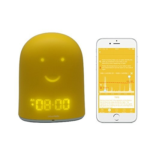 UrbanHello REMI – Réveil Jour Nuit éducatif et Suivi du sommeil - Babyphone audio avec alertes de bruit 5-en-1 - Veilleuse - Enceinte Bluetooth - en Jaune