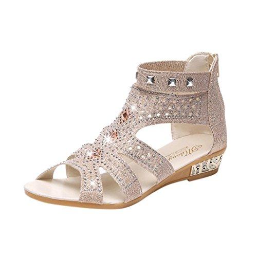 Sandalen Damen,Binggong Frühling Sommer Damen Frauen Keil Sandalen Mode Fisch Mund Hohl Roma Schuhe Elegant Rhein Fischkopf Mund Schuhe Mode Durchbrochene Sandalen Stilvoll (Beige 3, 38)
