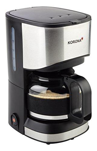 Korona 12015 Edelstahl Kaffeemaschine in Schwarz - Filter Kaffeeautomat für 5 Tassen Kaffee mit einer Kanne aus Glas