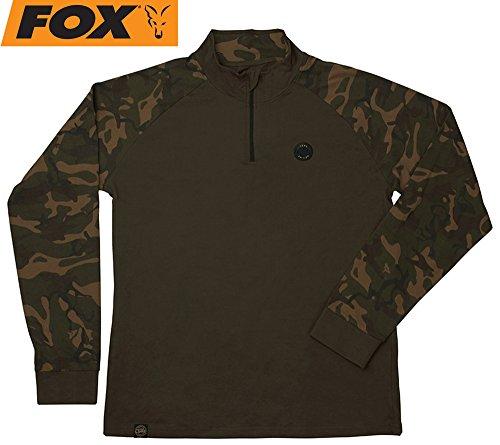 Fox Camo Dark Khaki Edition Long Sleeve T-Shirt - Shirt für Angler, Langärmliges Angelshirt, Tshirt, Anglershirt für Karpfenangler, Größe:XXXL -
