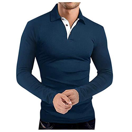 RANTA 2020 Sales Herren Langarm Polo Shirt Mit Kragen drehen und Knopfkragen Under 5 Euro Einfarbig Outdoor Sports Casual Polohemd Langarm Baumwolle Polohemd Denim Nähen Golf T-Shirt