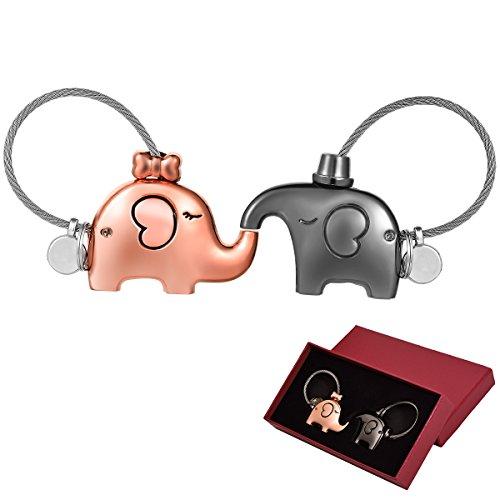 Schlüsselanhänger Paar,Adkwse Schlüsselanhänger Elefanten Paar,Liebhaber Schlüsselanhänger süß für paare, valentinstag geschenk für ihn