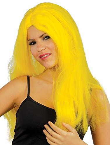 Peluca amarilla larga elegante para mujer