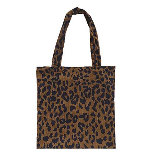 Dabixx Frauen Umhängetasche, Corduroy Shopping Bag Wiederverwendbare Tote Handtasche Leopard Print Schultertasche Shopper - A#