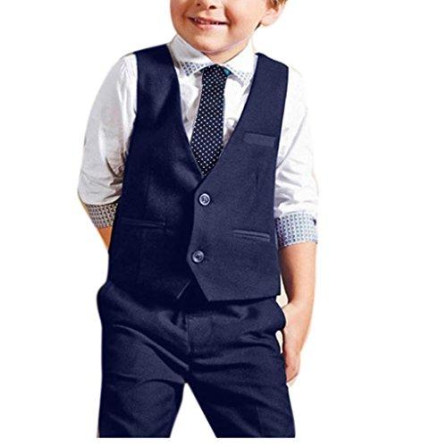 Set Anzug Kleid Herren (Elecenty 4pcs Stück Bekleidungssets Jungen,Outfit Set Babyanzug Set Gentleman Binden+Weste+Kurzarm Blusen +Lange Hose Hosen Hochzeitsanzüge Sommer-Outfit (2T, Blau))