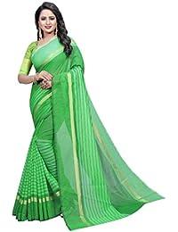 G Stuff Fashion Women Cotton Saree With Blouse Piece_1091_Green_saree
