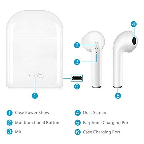 roycase Auriculares Bluetooth inalámbrico Cascos Bluetooth con Caja de Carga con reducción de Ruido Micrófono estéreo Integrado écouteur Bluetooth para iOS,  Android,  Smartphone