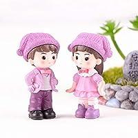 shyymaoyi Miniature Garden Ornaments Boy Girl Garden Dollhouse Decoration Gift 2Pcs