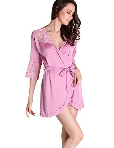 Damen Morgenmantel Nachthemd Bademäntel Satin Spitze Oblique V-Ausschnitt Spa Robe Kimono Violett (Spa Lange Robe)
