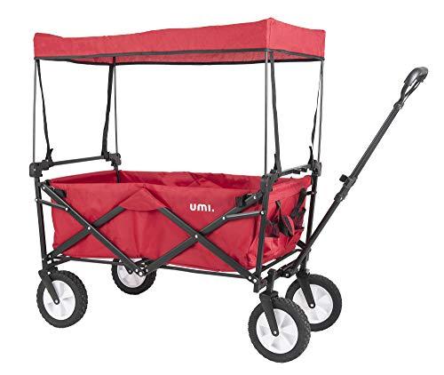 Umi. Essentials Bollerwagen Transportwagen mit Dach Handwagen Transportkarre Faltbar Gartenwagen (Rot)