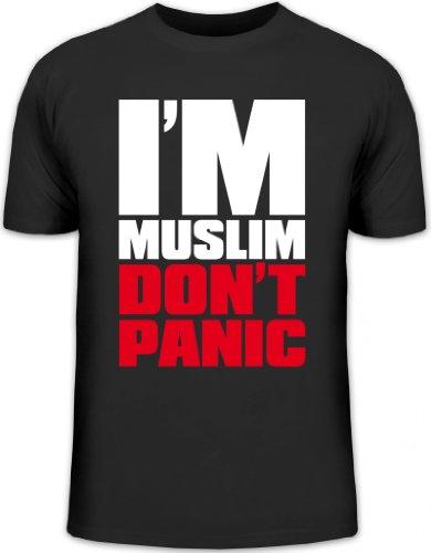 Shirtstreet24, I'M MUSLIM RED, Religion Moslem Islam Herren T-Shirt Fun Shirt Funshirt, Größe: L,schwarz