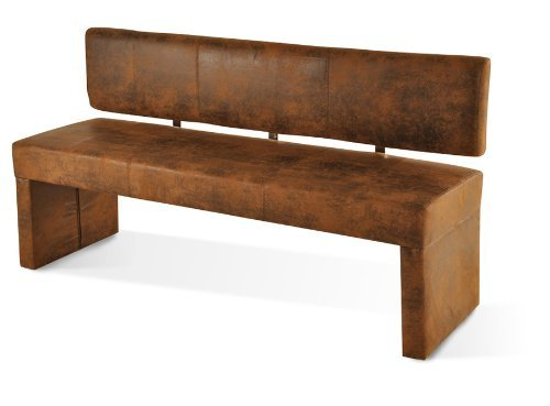 SAM® Esszimmer Sitzbank Scarlett, 164 cm, in brauner Wildlederoptik, Sitzbank mit Rückenlehne aus Samolux®-Bezug, angenehmer Sitzkomfort, frei im Raum aufstellbare Bank