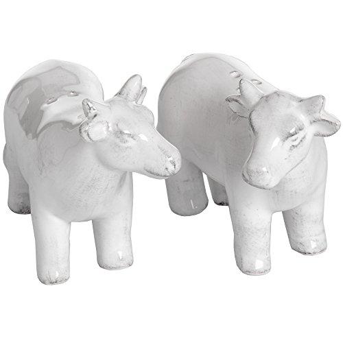 Salz- und Pfefferstreuer aus Keramik, Kuh-Design, Weiß, 2 Stück