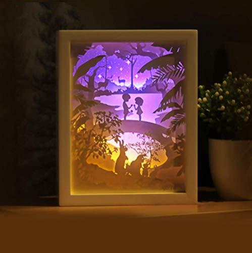 Quadrat Papier Schatten (FFyy Licht Und Schatten Papier Schnitzen Lampe Dekorative Lampe Schnitzen Lichter Romantik Handmade DIY Kreative Nachtlichter)