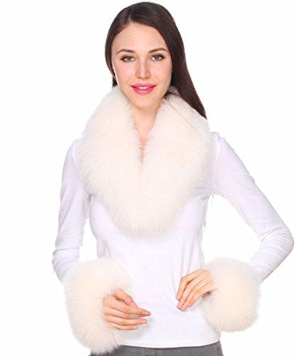 Ferand collo di pelliccia di volpe autentica per donna con polsini coordinati colori naturali per gilet parka giacche e cappotti beige