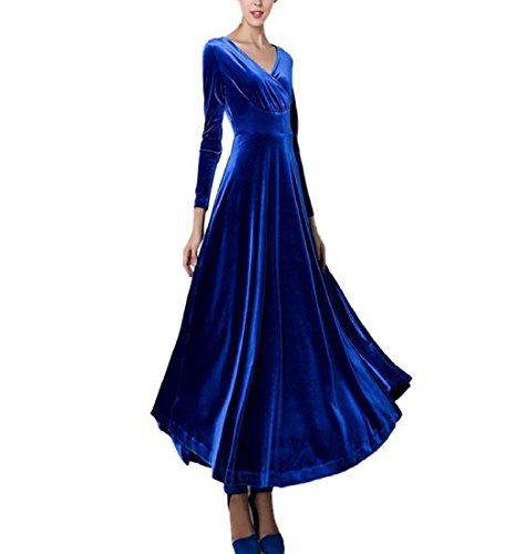 Rcool Frauen heißen Samtkleid Plus Größe Winter Knöchel Maxi Tuniken lässig Roben Fashion V-Ausschnitt Rock (3XL, Blau) (Meerjungfrau Kostüme Plus Größe)