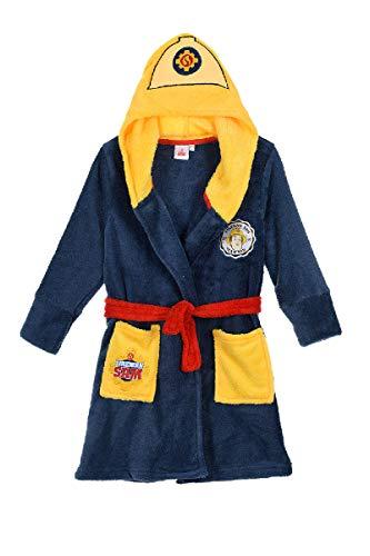 Feuerwehrmann-Sam Jungen Coral Fleece Bademantel mit Kapuze (Dunkelblau, Größe 98) Kapuzen-fleece-shirt