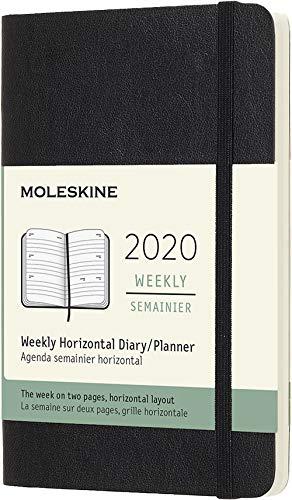 Moleskine 12 mesi 2020 agenda settimanale orizzontale, copertina morbida e chiusura ad elastico, colore nero, dimensione pocket 9 x 14 cm, 144 pagine