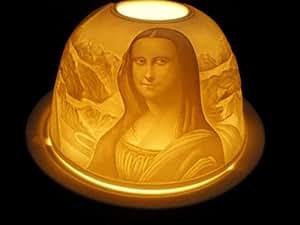 Mona lisa leonardo da vinci set de 2 photophores pour bougies chauffe-plat en porcelaine