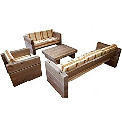 Casa-Padrino Luxury Garden Furniture Set Solid Oak - Heavy Version - 3, 2, 1 x + Table - Solid Wood Rustic - Lounge Set, Color:Funda de Almohada de Color Caqui