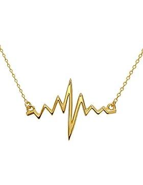 EKG Herzschlag Anhänger Halskette aus 925 Sterlingsilber mit Überzug aus 18k Gold, Rhodium und Roségold für Nerds...