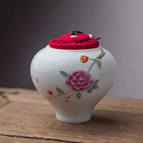 QQ HAO Ceremonia Urna Cerámica para Mascotas Cenizas Aves Flores Vintage Elegante,B