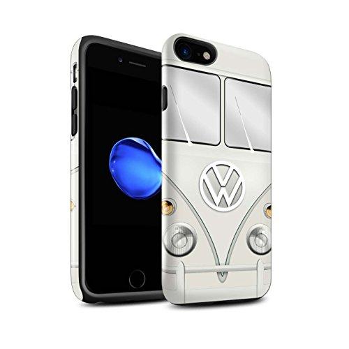 STUFF4 Glanz Harten Stoßfest Hülle / Case für Apple iPhone 7 / Fjord Blau Muster / Retro T1 Wohnmobil Bus Kollektion Perlweiss