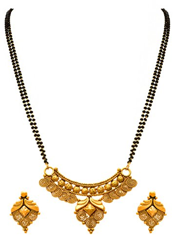 JFL - Traditional Ethnic One Gram Gold Plated Spiral Designer Mangalsutra Jewellery set with Earring for Women.
