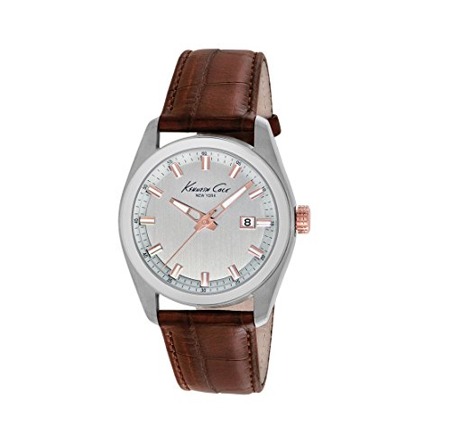 Wristwatch KENNETH COLE WATCH - NEW YORK CLASSIC GENT S/S IP ROSE GOLD BROWN STRAP DATE KC8038