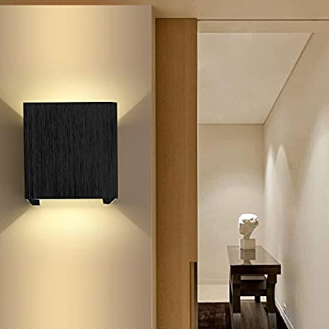 AGPtek 3W LED Wall Lamp for Living Room Flush Mount Hall Porch Walkway Light Living Room Light Bedroom Lamp for All kind of Wall (Black)