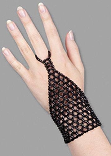 Griechische Göttin schwarz Perlen Finger Handschuh