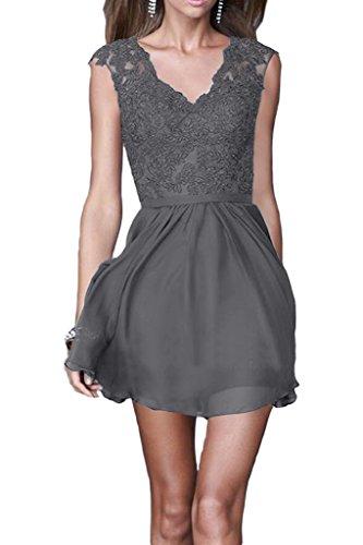 Ivydressing Damen Elegant A-Linie Chiffon&Spitze V-Ausschnitt Brautjungfernkleider Partykleid Promkleid Abendkleid Hellgrau
