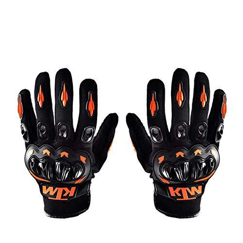 ZHAORLL Vollfinger Motorrad Reithandschuhe Motocross Leder Motorrad Racing Sommer Winter Handschuhe (M, L, XL),Orange,L