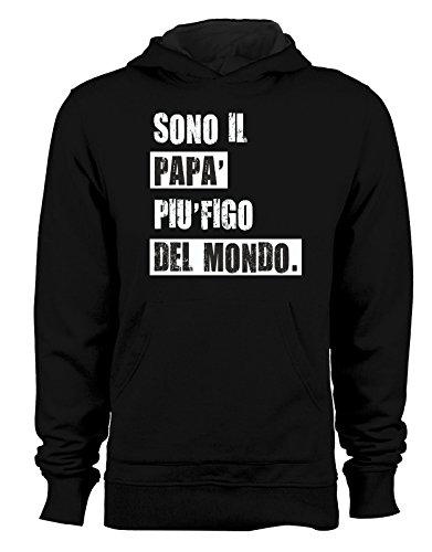Felpa con cappuccio Festa del Papà Sono il papà più figo del mondo - humor - happy father's day - idea regalo Nero