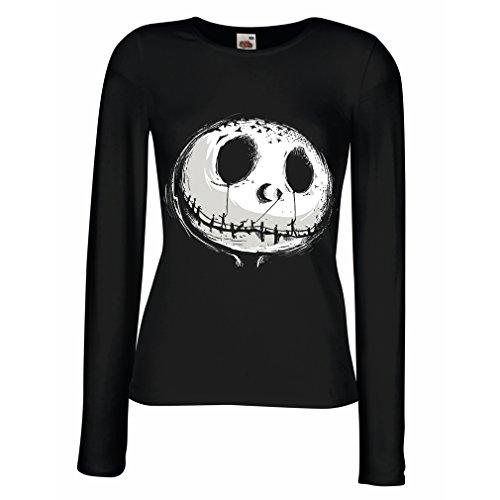 meln T-Shirt beängstigend Schädel Gesicht - Alptraum - Halloween-Party-Kleidung (Medium Schwarz Mehrfarben) ()