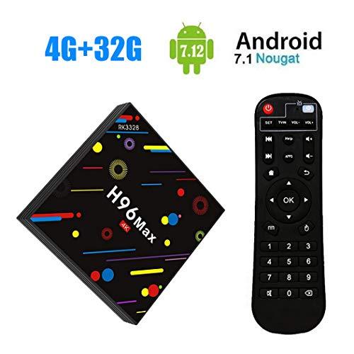 [2018TV Box 4GB + 32GB] sinuk h96Max H2Android 7.1Smart TV Box 4G + 32G rk3328Quad Core 64bit Cortex-A53set-Top Box, Ultra HD Support 2.4G/5G Dual WIFI 100M/Bluetooth 3d/4K/USB 3.0