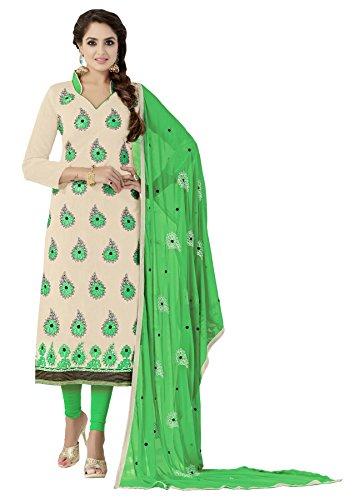 Nikki Fab Beige Chanderi Embroidered Unstitched Partywear Dress Material.