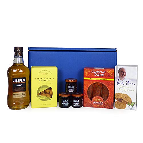 Luxury Jura Whisky Ultimate Gents Delights Gift Hamper - Includes 350ml Jura Journey Single Malt Scotch Whisky & Treats - Gift Ideas for Valentines, Mother's Day, Birthday, Anniversary, Business and Corporate