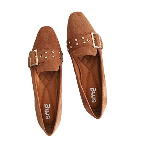 keephen Mode Flache Schuhe Freizeitschuhe Weibliche Wildleder Quadrat Schnalle Flache Schuhe Einfarbig Bankett Schuhe Arbeitsschuhe