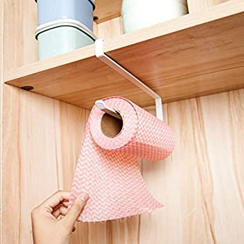 HOKIPO over The Cabinet Door Kitchen Napkin and Paper Towel Holder -White